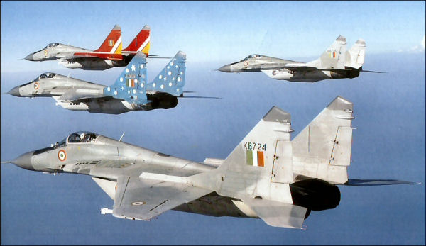 Four ship formation of Indian MiG-29s